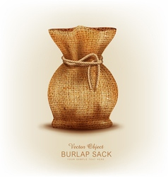 Object - burlap bag tied a rope vector