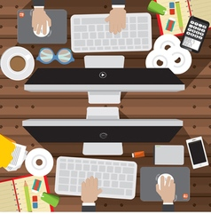 Office Worker Desk With Office Supply vector image vector image