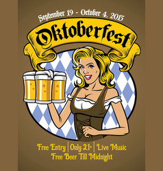 Oktoberfest bavarian girl vector