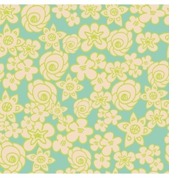 Ornate floral endless blue pattern vector image