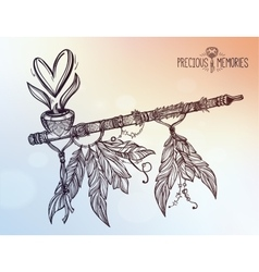 Pagan indian smoking pipe of love and peace vector