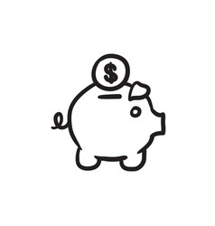 Piggy bank with dollar coin sketch icon vector