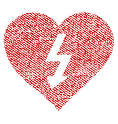 Power love heart fabric textured icon vector