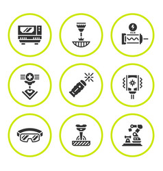 Set round icons of laser vector
