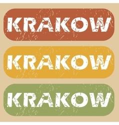 Vintage krakow stamp set vector