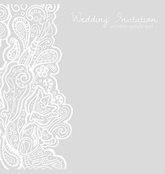 White linen floral brocade card vector