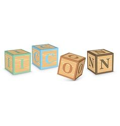 Word icon written with alphabet blocks vector