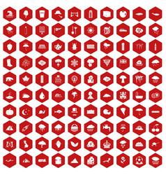 100 rain icons hexagon red vector