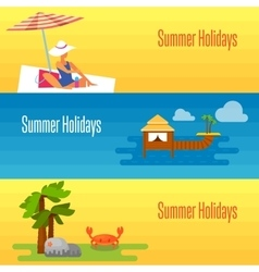 Summer holidays banner with water bungalows vector