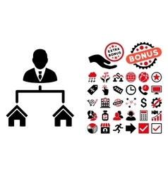 Realty manager flat icon with bonus vector