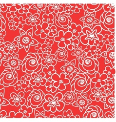 Ornate floral endless red pattern vector image