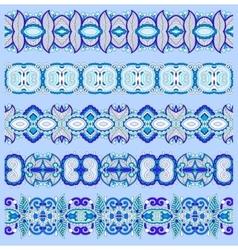 seamless ethnic blue paisley stripe pattern vector image