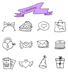 Hand draw of valentine icons vector