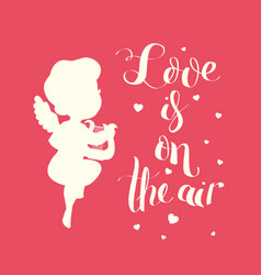 Cupid love silhouette with harp and love is on the vector