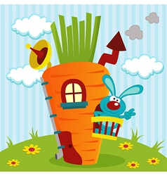 Rabbit in house of carrots vector
