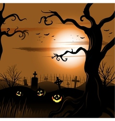 Creepy tree halloween background with full moon vector