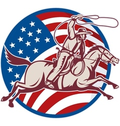 Cowboy riding horse with lasso and american flag vector
