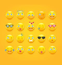 Cartoon emoticons emoji icons yellow smiles vector