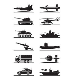 Military equipment icon set vector
