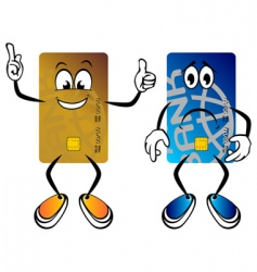 Happy and sad credit cards vector