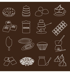 White and brown chocolate outline simple symbols vector