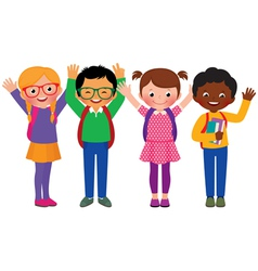 Group of children students vector