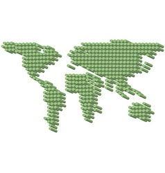 3D green dots earth vector image vector image
