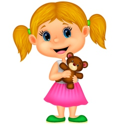 Little girl holding bear stuff vector