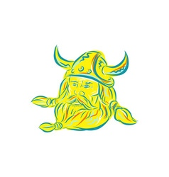 Norseman viking beard etching vector