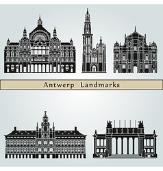 Antwerp landmarks and monuments vector