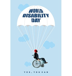 World disabilities day man in wheelchair goes down vector