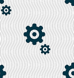 Gears icon sign seamless pattern with geometric vector