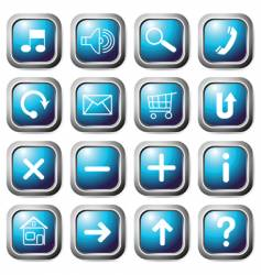 aqua square buttons vector image