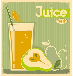 Fresh pear juice on old paper vintage card vector