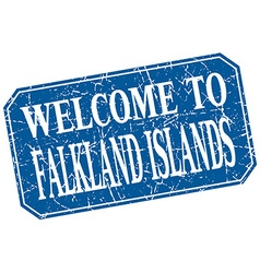 Welcome to falkland islands blue square grunge vector