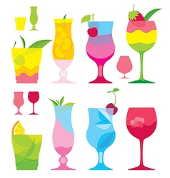 Isolated set of colorful cocktails in glasses with vector