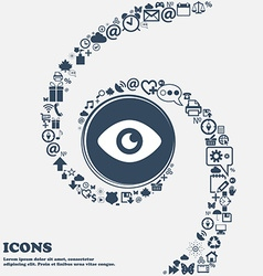 Eye publish content icon sign in the center around vector