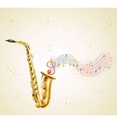 A saxophone with musical notes vector image vector image