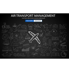 Air transport management concept with doodle vector
