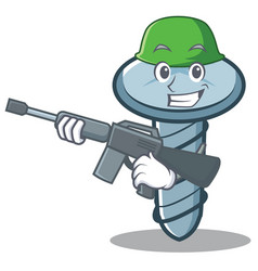 Army screw character cartoon style vector