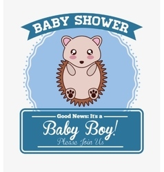 Baby shower cartoon card design vector