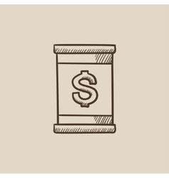 Barrel with dollar symbol sketch icon vector