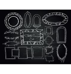 Chalkboard doodle frames set vector image vector image