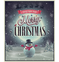 christmas poster with snowman vector image
