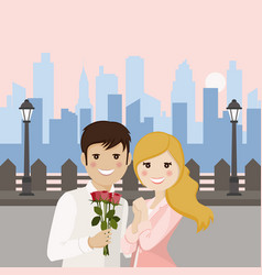 couple of lovers on a romantic date with sunset vector image vector image