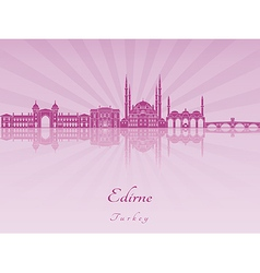Edirne skyline in purple radiant orchid vector image vector image