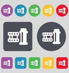 film Icon sign A set of 12 colored buttons Flat vector image vector image