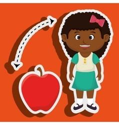 Girl cartoon fruit apple red vector