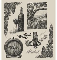 Hand drawn wine set vector image vector image