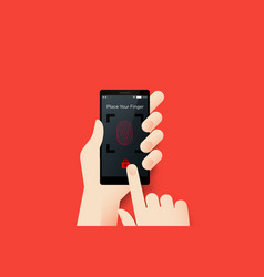 Hand holding smartphone with conceptual locked vector